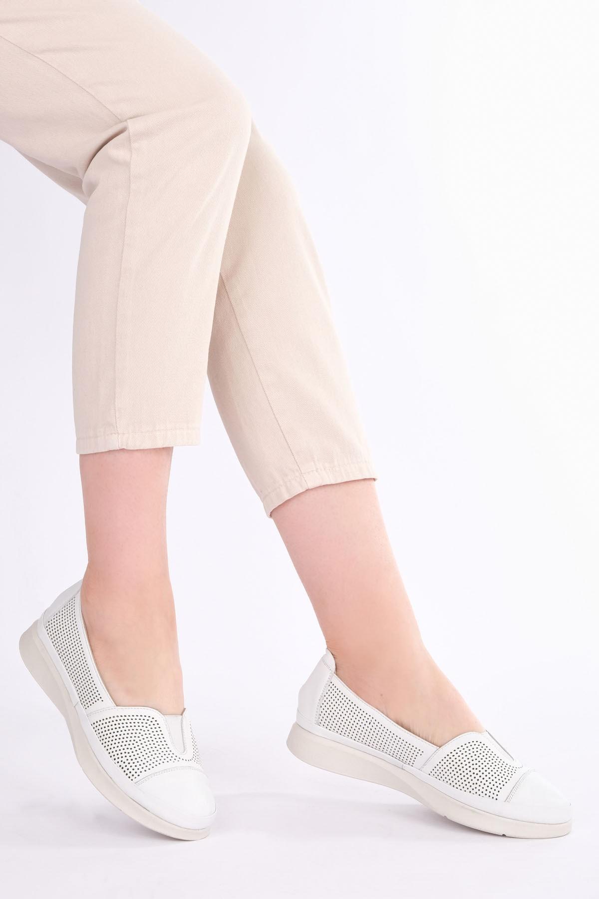 Marjin Kadın Beyaz Hakiki Deri Comfort Ayakkabı Vona