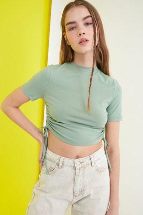 TRENDYOLMİLLA Mint Büzgülü Örme Bluz TWOSS21BZ0180