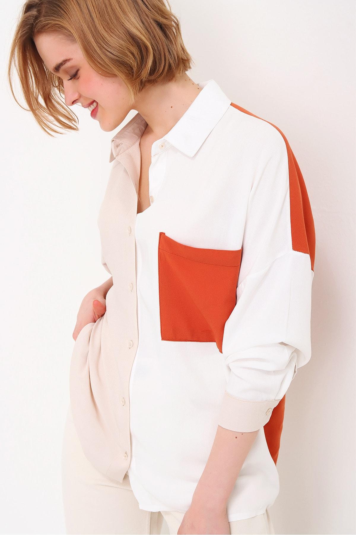 Trend Alaçatı Stili Kadın Ekru Tek Cep Bloklu Dokuma Viscon Gömlek ALC-X5898 1