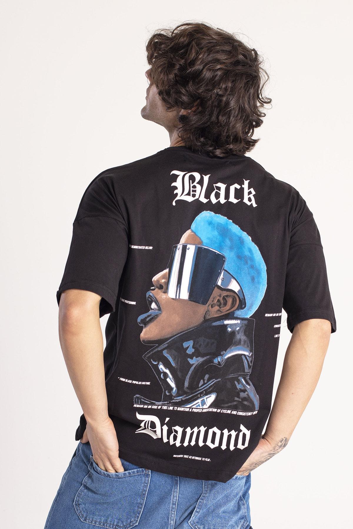 XHAN Siyah Önü & Arkası Baskılı Oversize T-Shirt 1KXE1-44660-02 1
