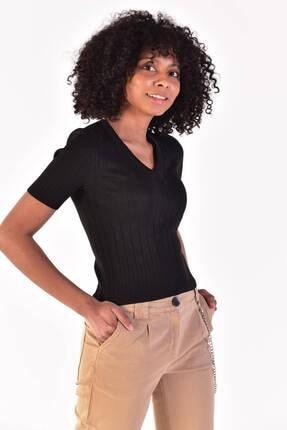 Addax Kadın Siyah V Yaka Kısa Kollu Triko T10125 - E5 Adx-0000021982
