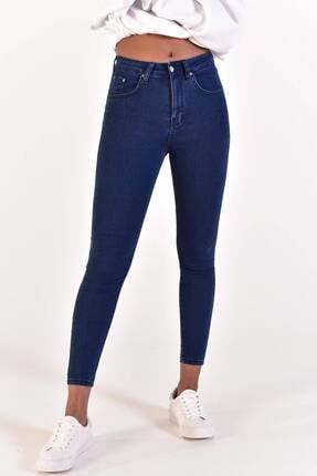Addax Kadın Koyu Kot Rengi Yüksek Bel Pantolon Pn6597 - Pns ADX-0000022005