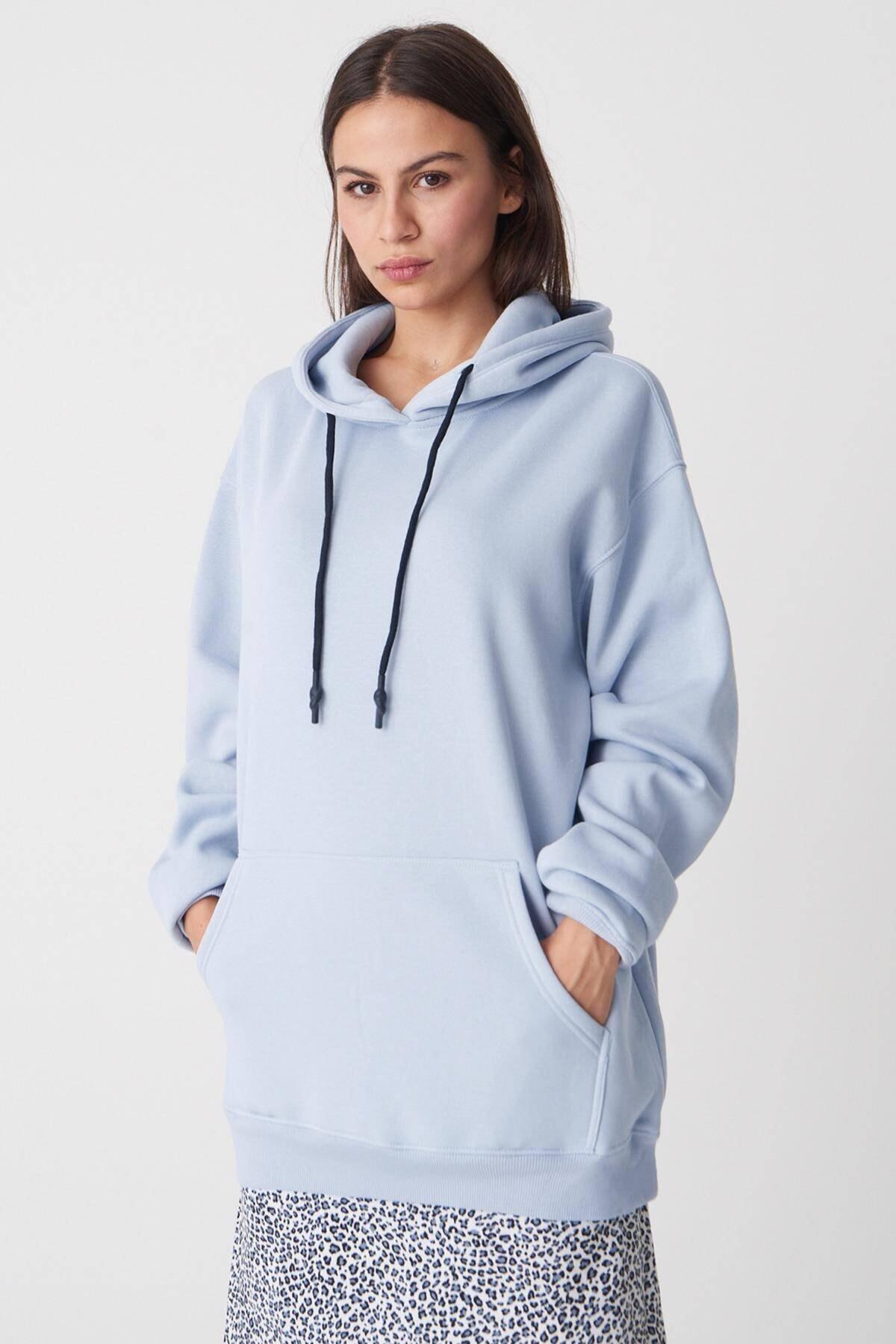 Addax Kadın Buz Mavi Kapüşonlu Oversize Sweat S0925 - N4 - P3 ADX-0000022256 1