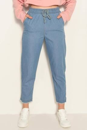 Addax Kadın Kot Rengi Önden Bağlamalı Pantolon Pn4317 - Pnl ADX-0000022956