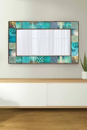 bluecape Valensiya Doğal Ağaç 62x102 Cm Çerçeveli Antik Limra Taş Kaplı Salon Duvar Konsol Boy Aynası