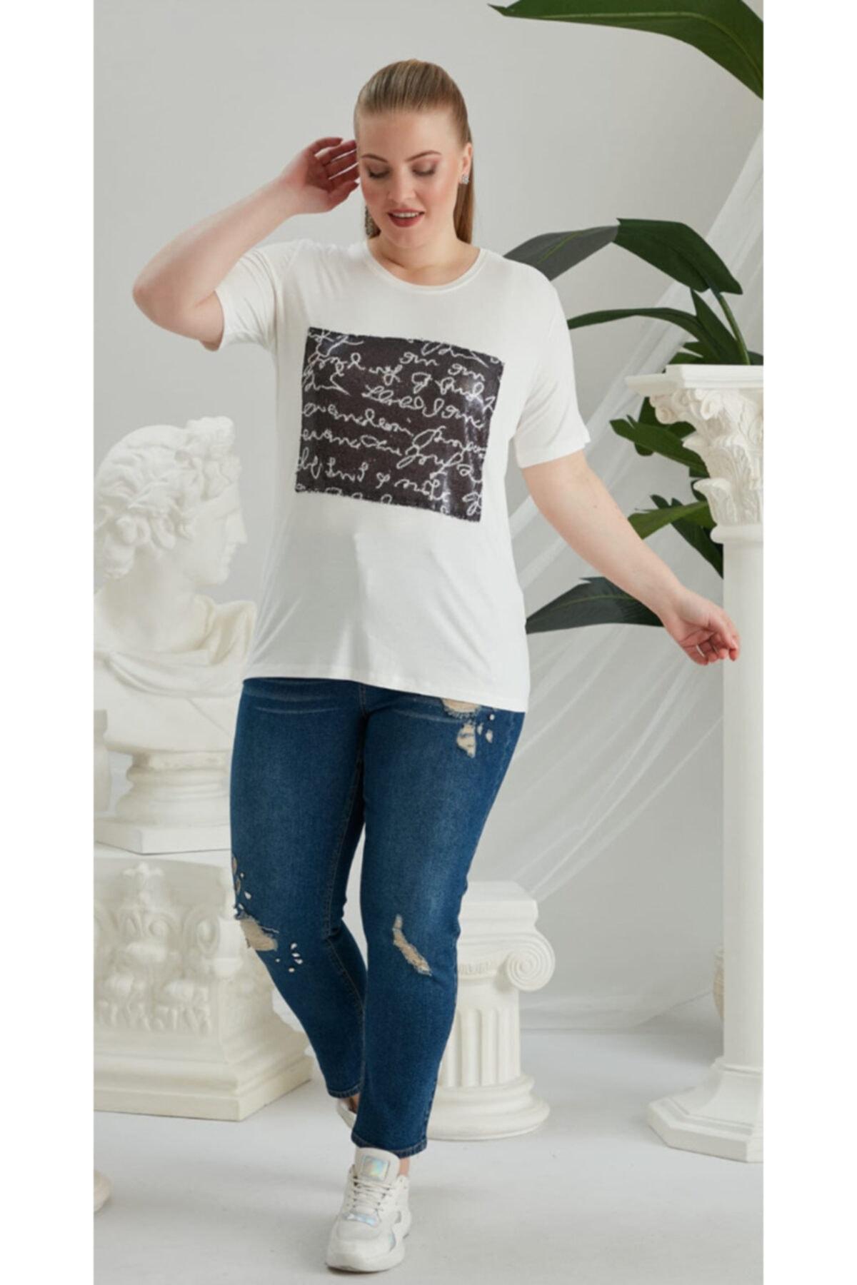 RMG Kadın Beyaz Siyah Büyük Beden T-Shirt 2