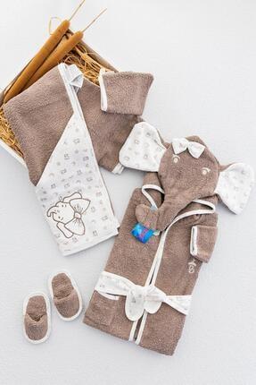 Babymod Organik Fil Temalı 4'lü Bebek Havlu Bornoz Seti