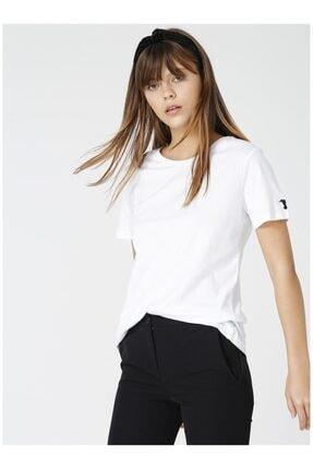 Fabrika Kadın Beyaz Bisiklet Yaka Tişört