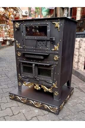 Karali Kuzine 45'lık Odun Ve Kömür Özel Yapılm Şık Tasarım Kalın Camlı Rize Kuzinesi