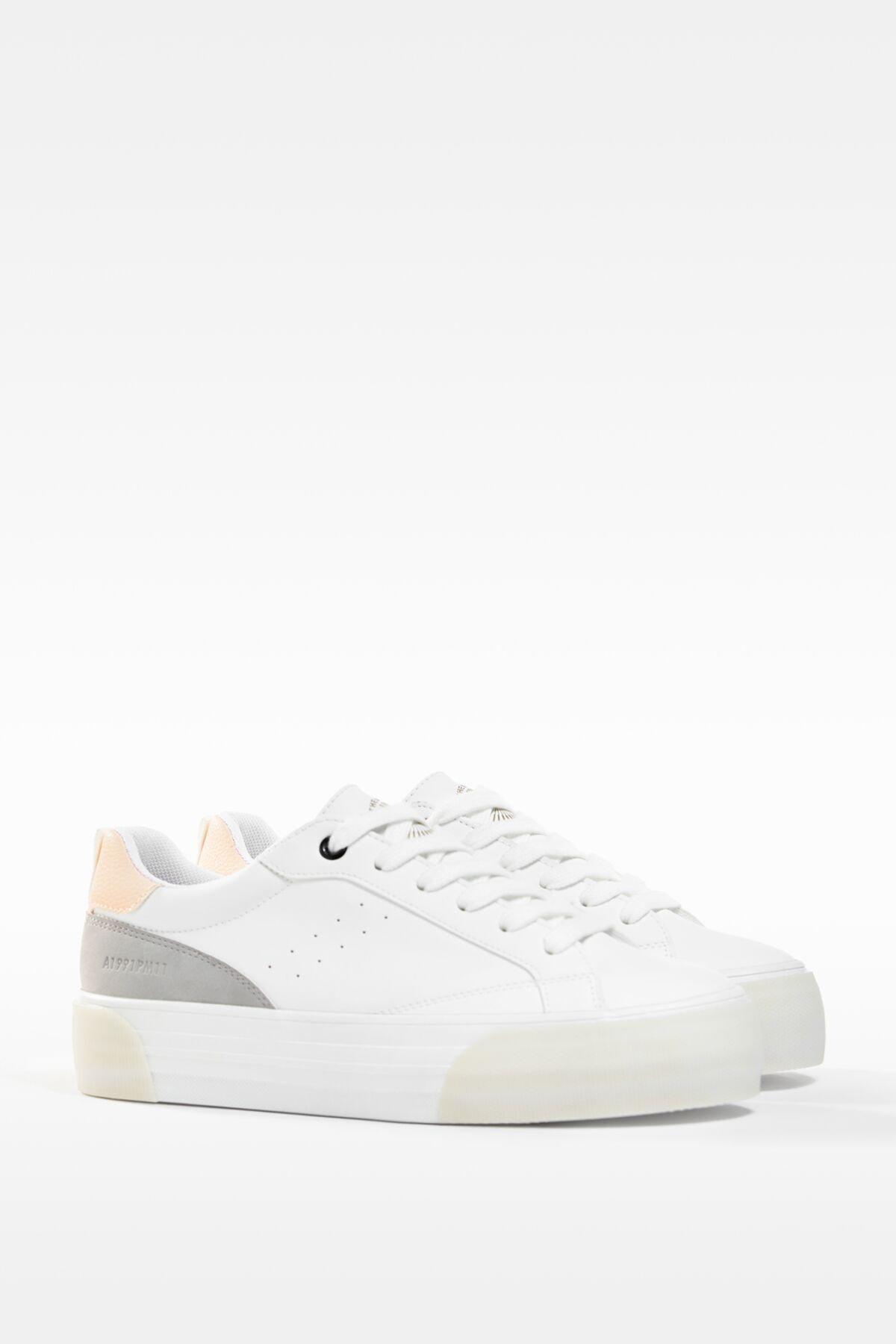 Bershka Kadın Beyaz Kontrast Platform Spor Ayakkabı 1