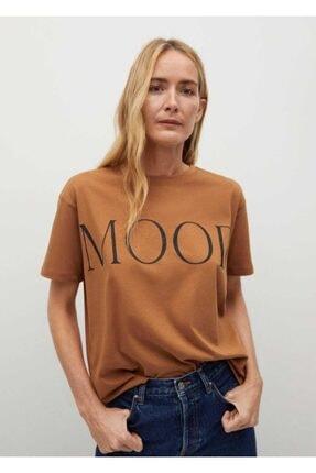MANGO Woman Kadın Kahverengi Yazılı Organik Pamuklu Tişört