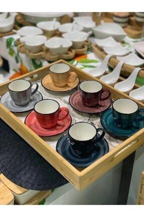 Bambum Bella 6 Kişilik Renkli Fincan Takımı
