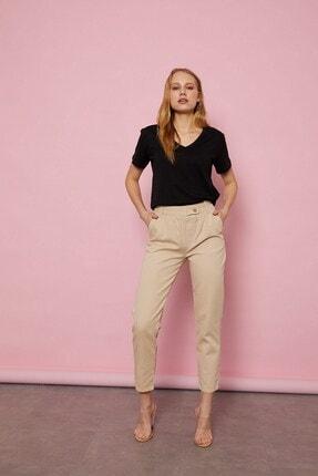 Arma Life Kadın Taş Rengi Düğmeli Gabardin Pantolon