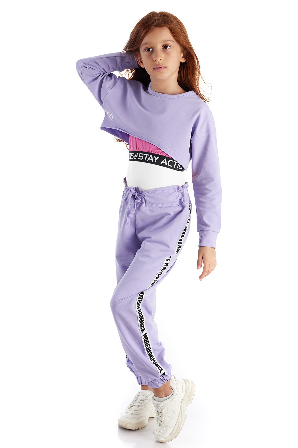 Colorinas Modern Romance Şeritli Pantolon Lila 2