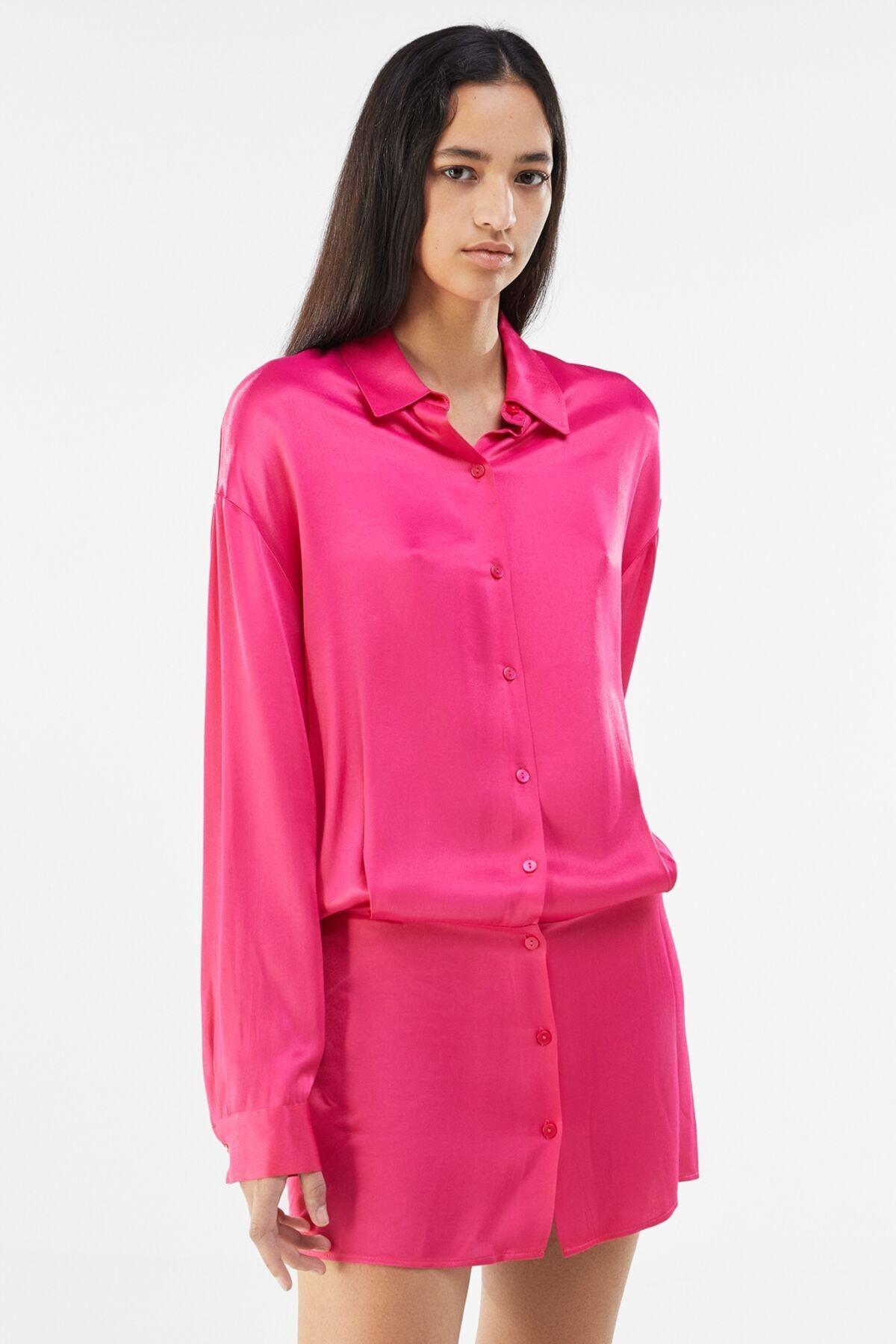 Bershka Kadın Fuşya Saten Gömlek Elbise 1