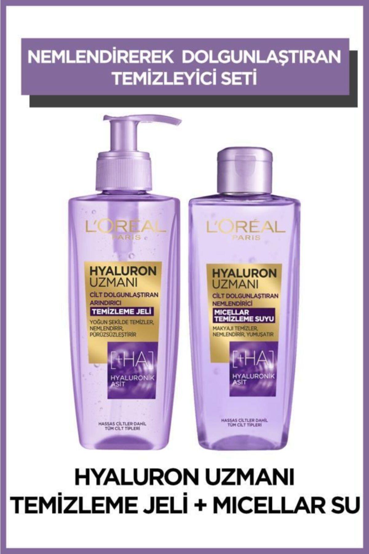 L'Oreal Paris Hyaluron Uzmanı Arındırıcı Temizleme Jeli + Micellar Temizleme Suyu 2'li Set 1