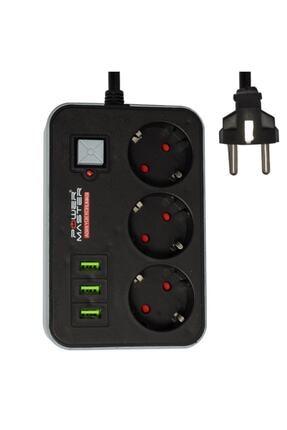 Powermaster Pm-17564 3 Usb Girişli 1.8 Metre Kablolu 3'lü Akım Korumalı Priz