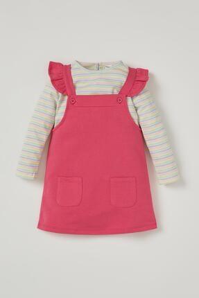 DeFacto Kız Bebek Pamuklu Salopet Ve Uzun Kol Çizgili Tişört Takım