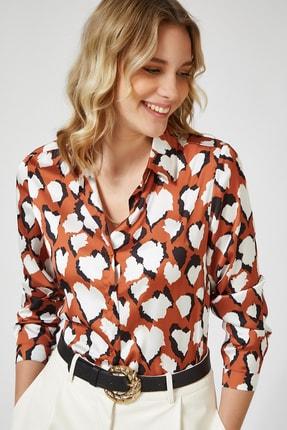 Happiness İst. Kadın Kiremit Desenli Saten Yüzeyli Gömlek FN02636