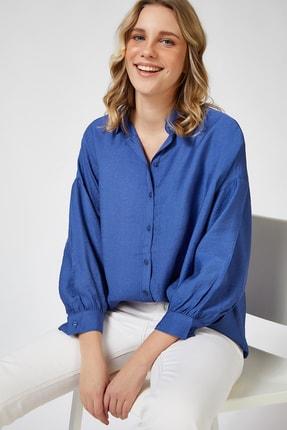 Happiness İst. Kadın Mavi Dükümlü Oversize Gömlek FN02638