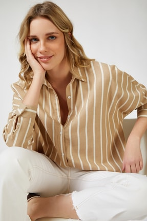Happiness İst. Kadın Bisküvi Çizgili Oversize Viskon Gömlek LH00021