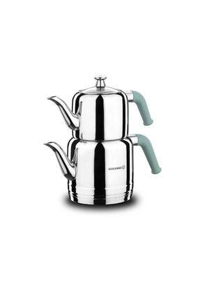 KORKMAZ A189-03 Riva Çelik Çaydanlık Takımı Turkuaz