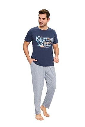 walkie Erkek Lacivert Gri Next Level Pijama Takımı