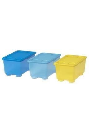 IKEA Glıs Kapaklı Kutu, Sarı-Mavi 17x10 cm 3 Parça