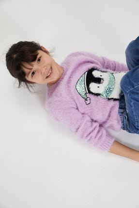 DeFacto Kız Çocuk Penguen Figürlü Kazak
