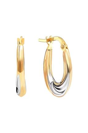 Gelin Pırlanta Kadın 14 Ayar Altın  Halka Küpe (1.7 cm) Gln300053