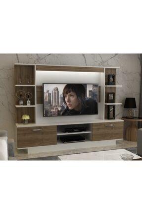 ARNETTİ Light Tv Ünitesi Yaşam Odası, Salon, Ve Oturma Odası, Tv Sehpası Beyaz-ceviz