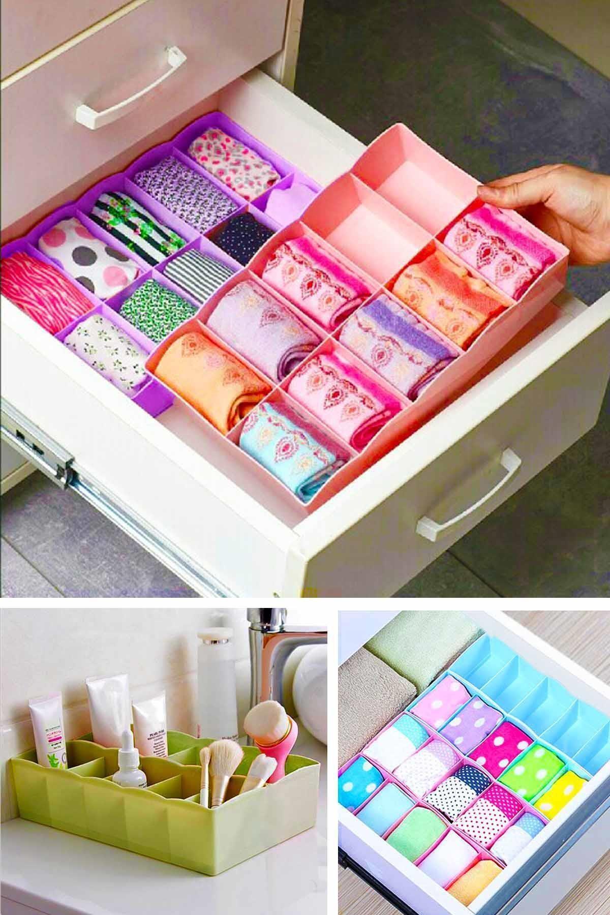 Helen's Home 10 Gözlü Çekmece Içi Çorap Düzenleyici Iç Çamaşırı Ve Makyaj Düzenleyici Plastik Organizer 1