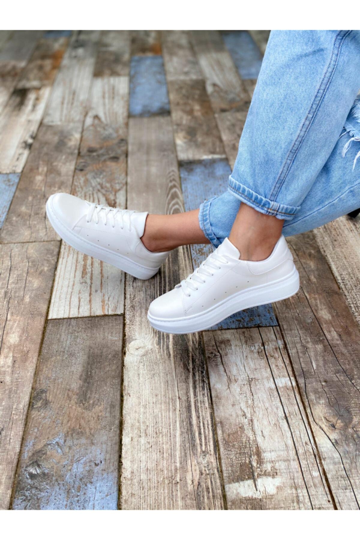BY LENA SHOES Kadın Beyaz Sando Spor Ayakkabı 1