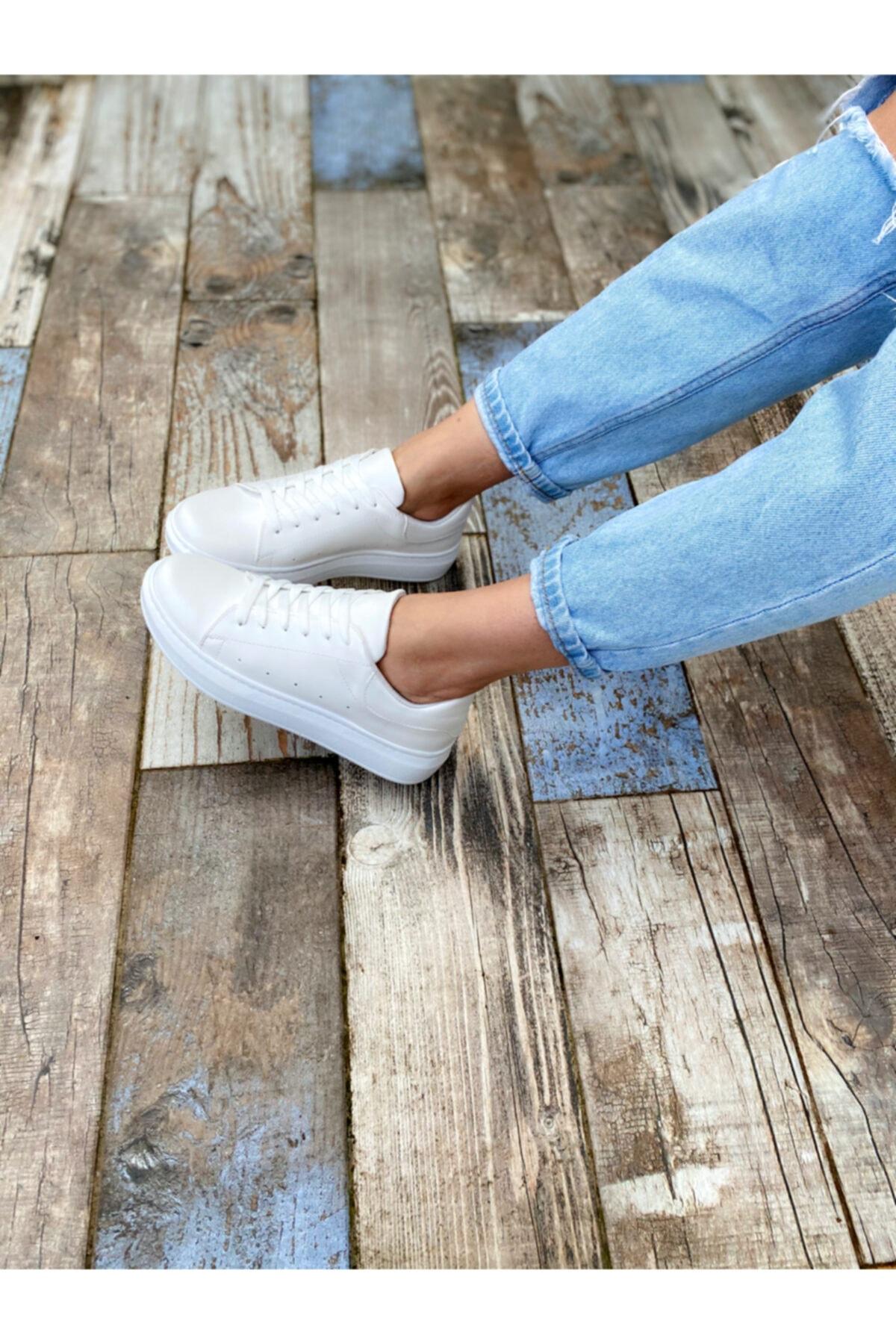 BY LENA SHOES Kadın Beyaz Sando Spor Ayakkabı 2