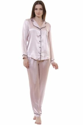 NBB Saten Pijama Takımı Pudra 66393
