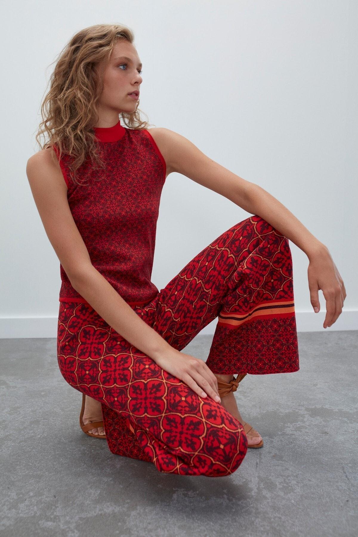 JOIN US Kadın Kırmızı Desenli Beli Lastikli Simli Triko Pantolon 2