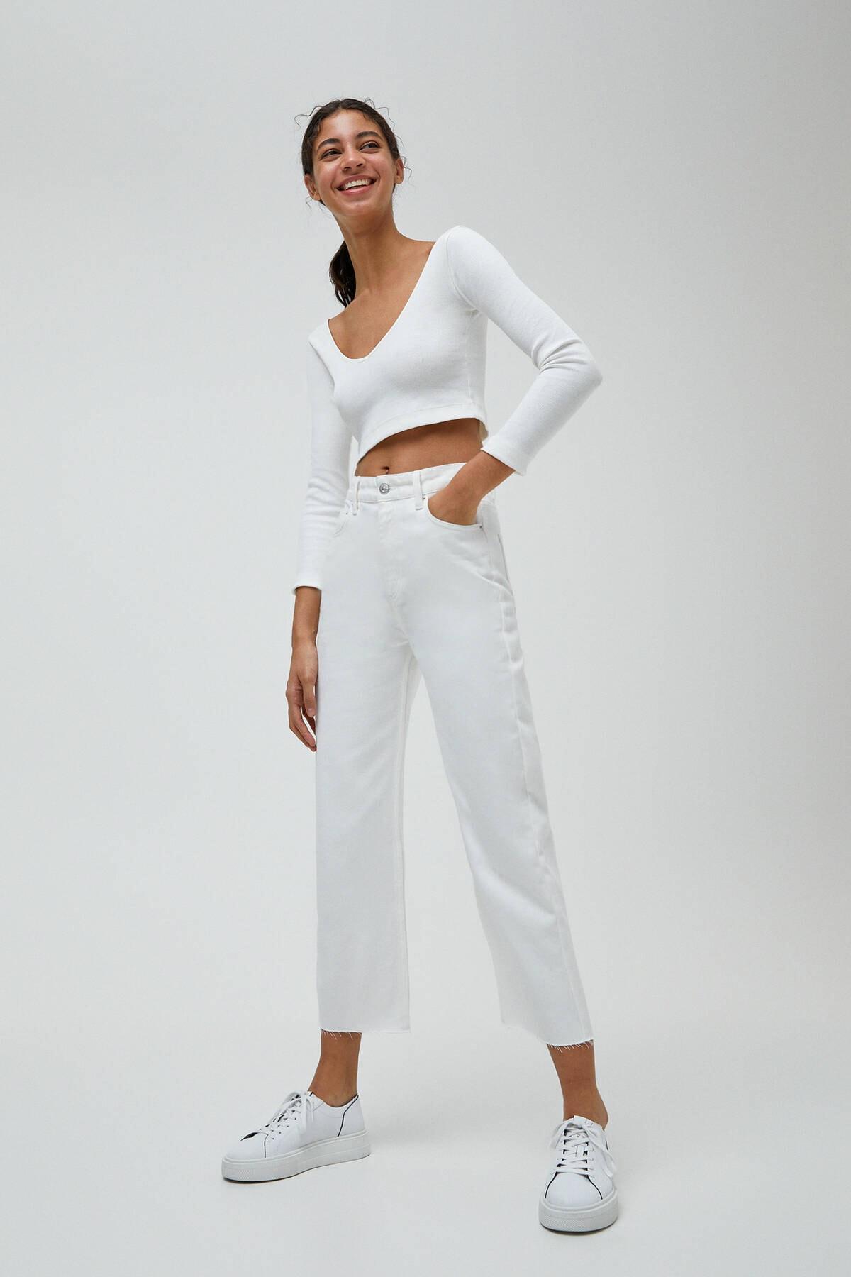 Pull & Bear Kadın Beyaz Basic Petite Culotte Jean 1
