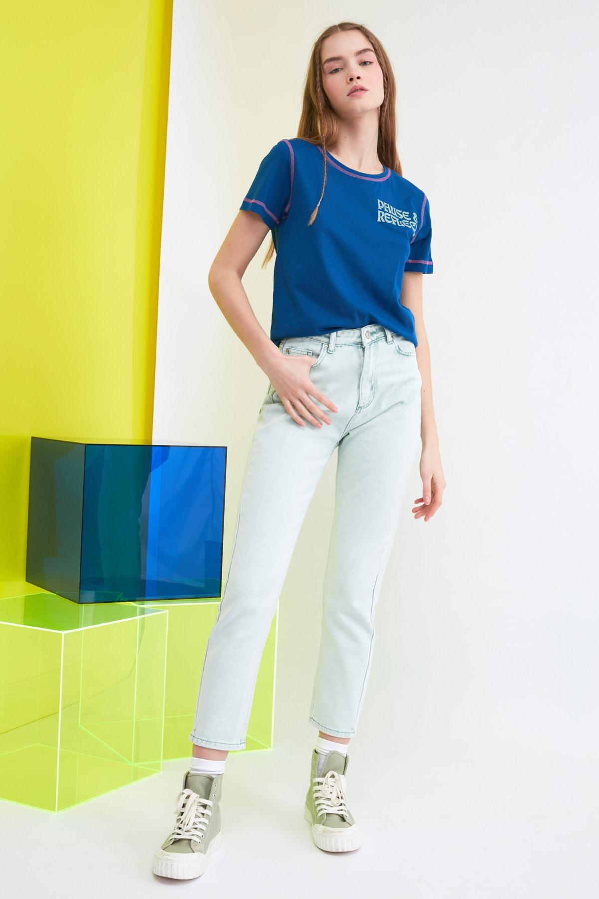TRENDYOLMİLLA Mint Yüksek Bel Mom Jeans TWOSS21JE0172 2