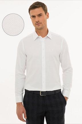 Pierre Cardin Erkek Beyaz Slim Fit Armürlü Gömlek G021GL004.000.1214466