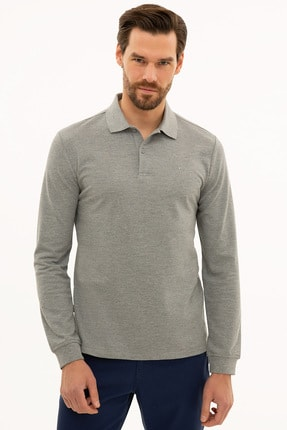Pierre Cardin Erkek Gri Melanj Slim Fit Polo Yaka Sweatshirt G021GL082.000.1208969