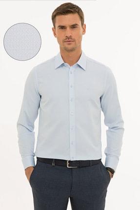Pierre Cardin Erkek Açık Mavi Slim Fit Armürlü Gömlek G021GL004.000.1214466