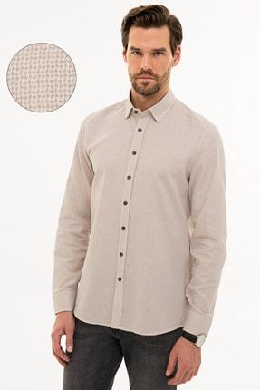 Pierre Cardin Erkek Açık Kahverengi Slim Fit Gömlek G021GL004.000.1214439