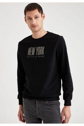 DeFacto New York Baskılı Bisiklet Yaka Slim Fit Sweatshirt