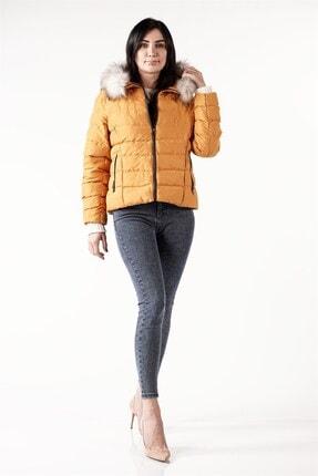 PIQUE Kadın Hardal Sarısı Kürk Detaylı Şişme Mont