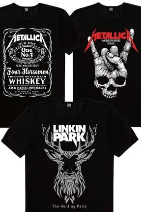 Rock & Roll Erkek Siyah Geometrik Geyik, Kuru El, Metallica Jack Logo 3'lü Eko Paket T-shirt