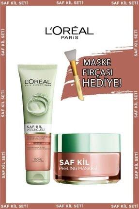L'Oreal Paris Saf Kil Peeling Jel + Saf Kil Peeling Maskesi + Maske Fırçası Hediye