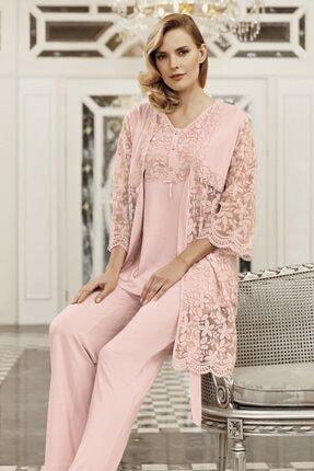 Artış Kadın Pudra 3lü Sabahlık Pijama Takım-6301-2
