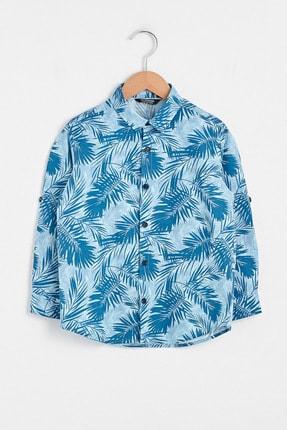 LC Waikiki Erkek Çocuk Mavi Baskılı Lqq Gömlek