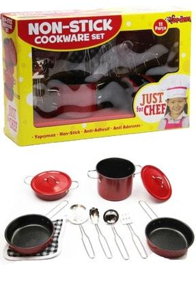 Vardem 11 Parça Kırmızı Paslanmaz Çelik Tencere Tava Seti Eğitici Çocuk Oyuncak