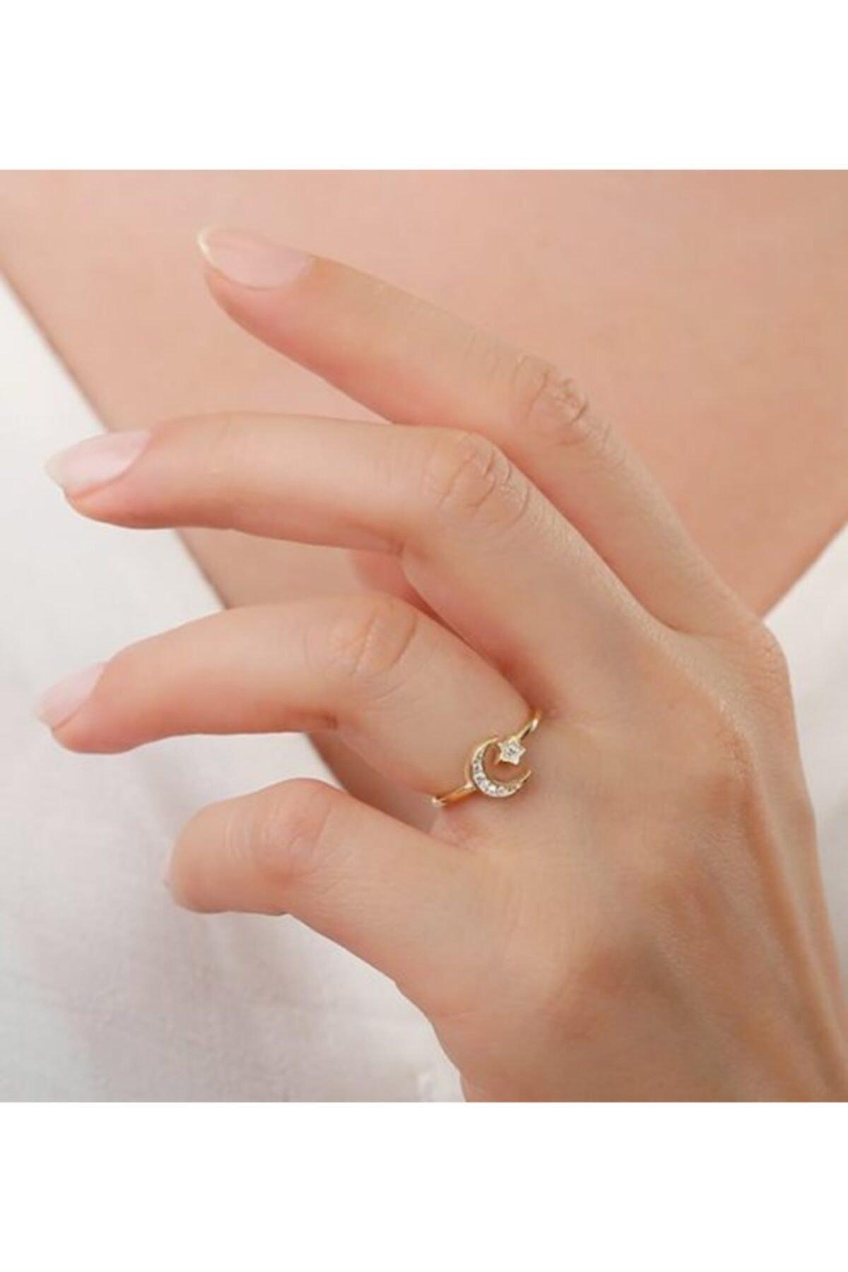 Gümüşistan Kadın Altın Sarısı 925 Ayar Gümüş Ay Yıldızlı Yüzük 1